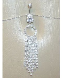 Crystal Jewel with Majestic Tassel Dangle Belly Button Ring with Belly Chain