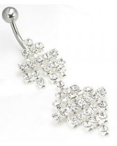 Full of Crystals Drop Belly Button Ring