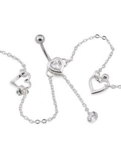 Drop Charm Belly Ring with Chain (Thumbnail)