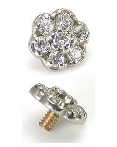 14kt White Gold Jeweled Flower Top