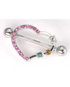 "14g 7/8"" Jeweled Heart Shield Nipple Ring – Price Per 1"