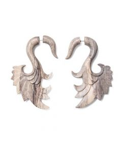 Tamarind Wood Swan Wing Cheater Earring