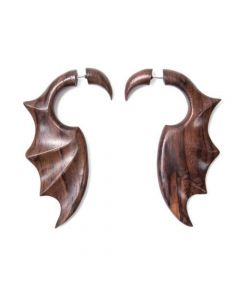 Sono Wood Gargoyle Wing Cheater Earring