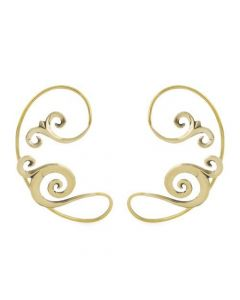 Polished Brass Spiral Filigree Ear Wrap – Thumbnail