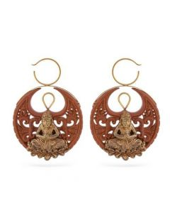 Nirvana Saba Wood Carved Earring with Bronze (Thumbnail)