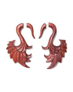 Red Tigerwood Swan Wing Cheater Earring