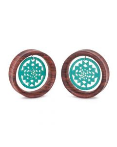 Dangling Turquoise Sri Yantra Red Tigerwood Tunnel