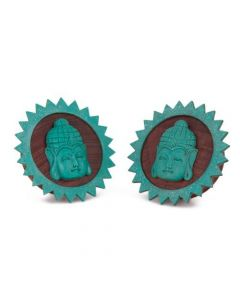 Carved Turquoise Resting Buddha Red Tigerwood Plug
