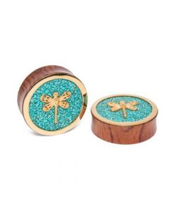 Brass Dragonfly Red Tigerwood Plug with Crushed Turquoise Inlay