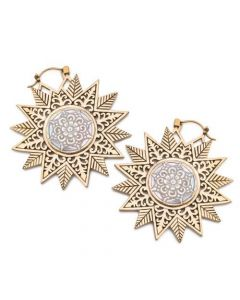 18g Star-Shaped Brass Earrings with Mother of Pearl Inlay