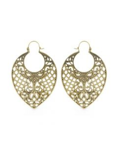 18g Brass Crosshatched Leaf Earrings – Thumbnail