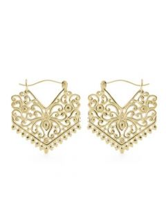 18g Gold Plated Tribal Chevron Earrings – Thumbnail