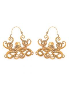 18g All-Seeing Octopus Polished Brass Earrings – Price Per 2 (Thumbnail)