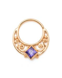 Purple Diamond Lunar Gold Plated Bendable Septum Ring (Thumbnail)