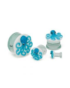 "2g–1"" Double Flared Blue Octopus Soda-Lime Glass Plug — Price Per 1"