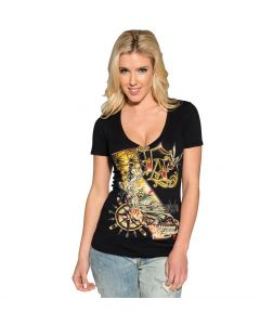 Sullen Angels Kali Women's Black V-neck Tee Front