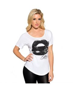 Sullen Angels Kiss of Death Women's White Tee Front