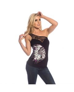 Sullen Angels Nation Shoulder Lace Tank Women's Shirt