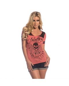 Sullen Angels Skull and Roses Tee Heather Red Front
