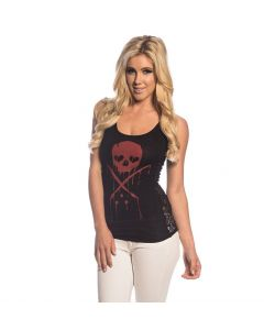 Sullen Angels Inked Side Lace Tank Top Front
