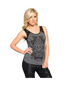 Sullen Angels Tattoo Board Women's Heather Gray Tank Front View