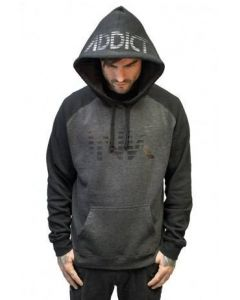 Ink Lines Black and Charcoal Raglan Hoodie by Ink Addict