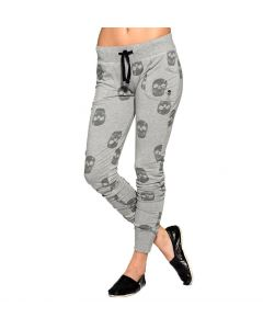 Sullen Angels Icon Skull Women's Heather Gray Fleece Pants Front