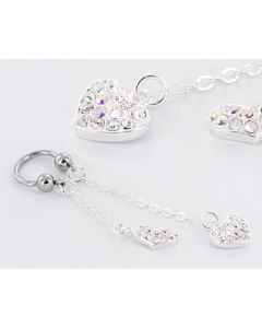 """14g 1/2"""" Circular Barbell with Dangling Heart Charms – Price Per 1"""