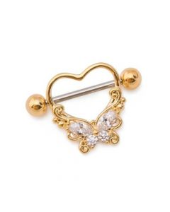 "14g 11/16"" Straight Barbell Nipple Ring with Butterfly Heart Charm (Thumbnail)"