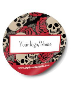 Round Stickers — Choose Your Size and Background — Red Skulls