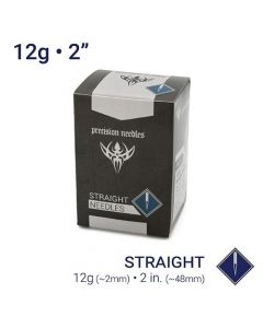 "12g Sterilized Straight 2"" Body Piercing Needle — Box of 100"