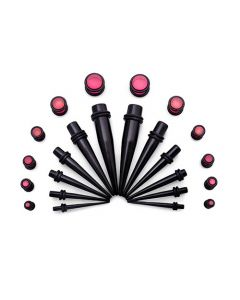 Ear Stretching Kit — 8g–00g Black Acrylic Tapers and Pink Plugs — 24 Pieces (Thumb)