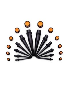 Ear Stretching Kit — 8g–00g Black Acrylic Tapers and Orange Plugs — 24 Pieces (Thumb)