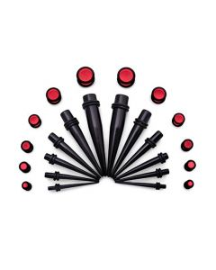 Ear Stretching Kit — 8g–00g Black Acrylic Tapers and Red Plugs — 24 Pieces (Thumb)
