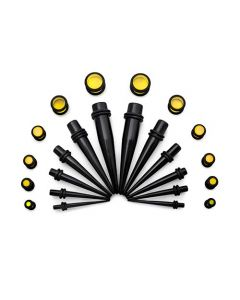 Ear Stretching Kit — 8g–00g Black Acrylic Tapers and Yellow Plugs — 24 Pieces (Thumb)