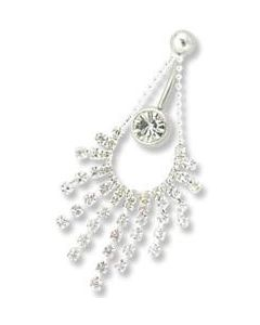 "14g 7/16"" Single Jewel Top down Belly Button Ring with Dangling Necklace Charm Front View"