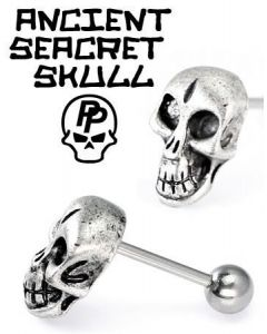 14g Ancient Skull Straight Barbell- Front View