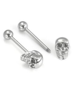 """14g 5/8"""" Steel Casted 3D Skull Straight Barbell- Front View"""