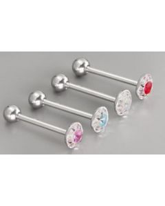 "14g 5/8"" Steel Casted Multi Gem Circle Straight Barbell- Front View"