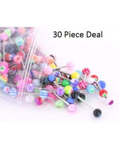"14g 5/8"" Acrylic Ball Straight Barbell - 30 Piece Deal"
