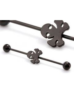 "16g 1 3/8"" Black Poison Industrial Barbell- Up Close"