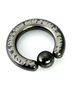 10g-4g Black Titanium-Coated Stainless Steel Captive Ring With Flames