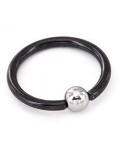 16g Titanium BlackOut Captive Bead Ring with Steel Ball