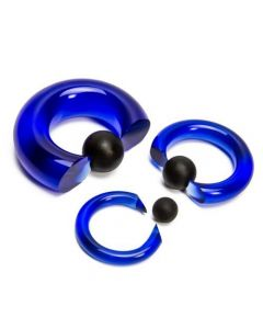 Blue Vampire End Glass Captive Bead Ring with Black Silicone Ball