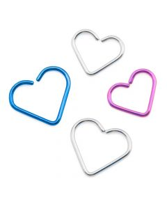 20g Niobium Bendable Heart for Ear Piercings — Two Size Options