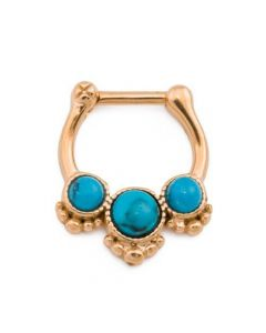 Trinity Turquoise Stone PVD Gold Septum Clicker (Thumbnail)