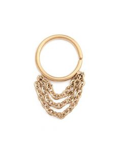 Tiered Chains Dangle PVD Gold Bendable Septum Ring (Thumbnail)