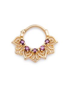 16g PVD Gold Purple Jeweled Petals Septum Clicker (Thumb)