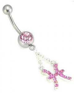 "14g 7/16"" Single Jewel Belly Button Ring with Pisces Charm"