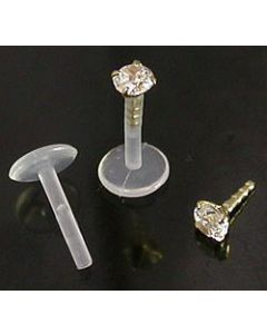 16g Bioplastic Labret with 14kt Yellow Gold Prong Set Gem- Front View